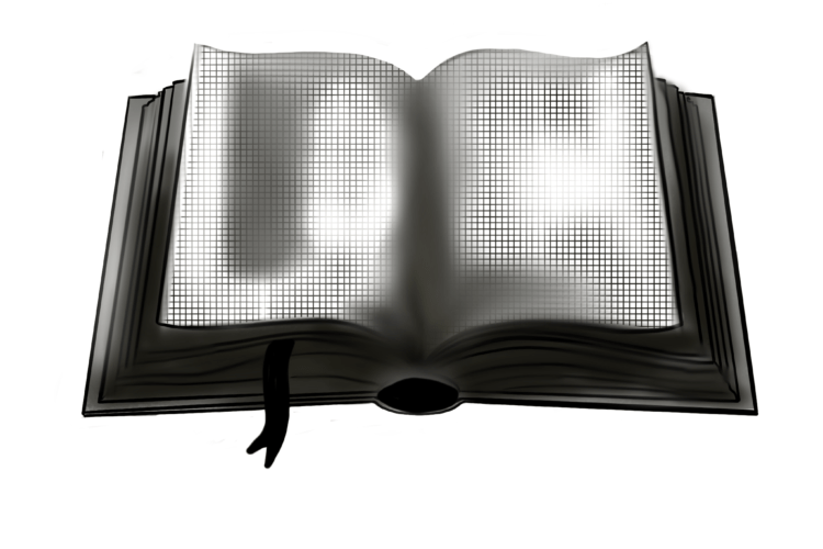 Illustration of an open book reflecting light. Livre Doux Publishing - crowdfunded literature,